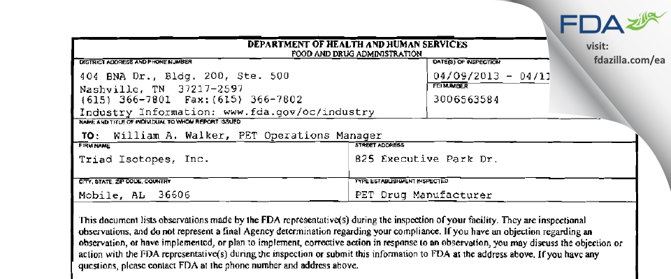 Triad Isotopes FDA inspection 483 Apr 2013
