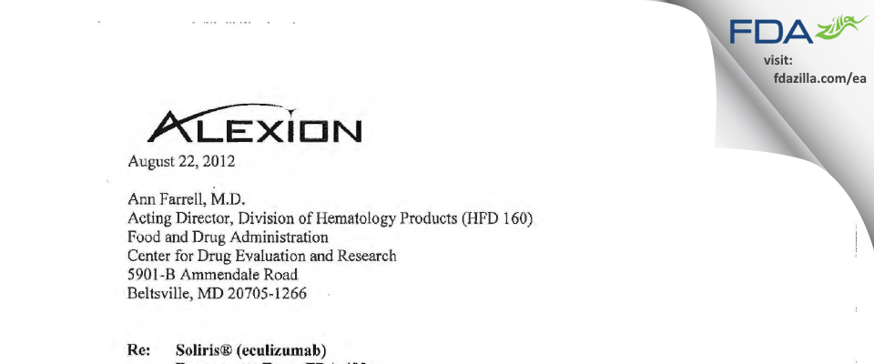 Alexion Pharmaceuticals FDA inspection 483 Aug 2012