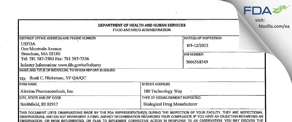 Alexion Pharmaceuticals FDA inspection 483 Aug 2015