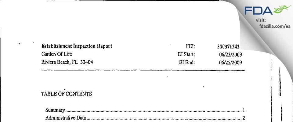 Garden Of Life FDA inspection 483 Jun 2009