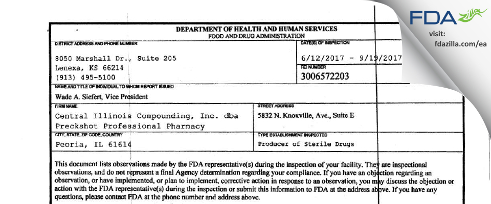 Dolan Central Illinois Compounding dba Preckshot Profess FDA inspection 483 Sep 2017