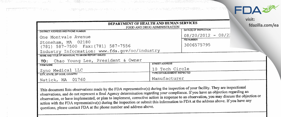 Zyno Medical FDA inspection 483 Aug 2012