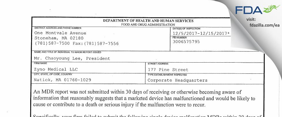 Zyno Medical FDA inspection 483 Dec 2017