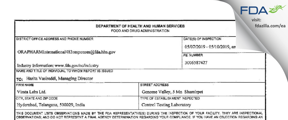 Vimta Labs FDA inspection 483 May 2019