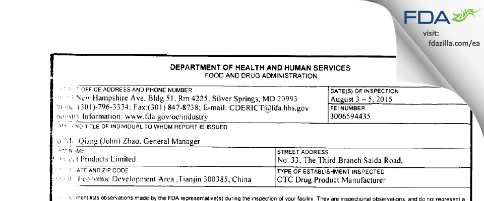 wwConcept Products FDA inspection 483 Aug 2015