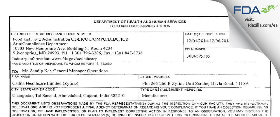 Cadila Healthcare Limited (Zyfine) FDA inspection 483 Dec 2014