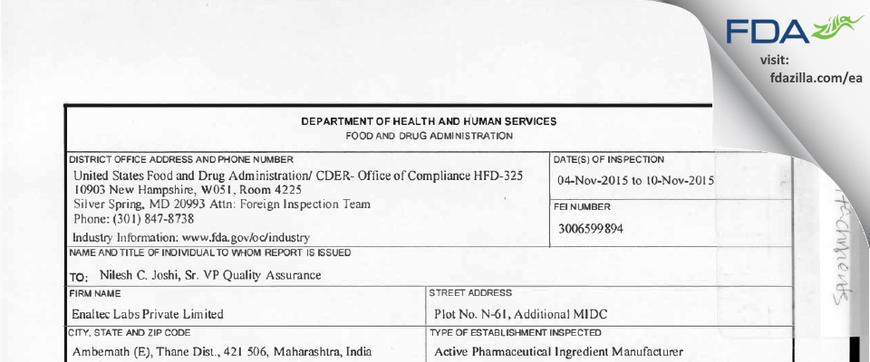 Enaltec Labs Private FDA inspection 483 Nov 2015