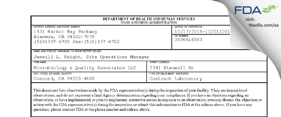 Microbiology & Quality Associates FDA inspection 483 Dec 2018