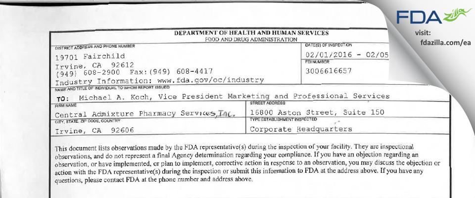 Central Admixture Pharmacy Serv FDA inspection 483 Feb 2016