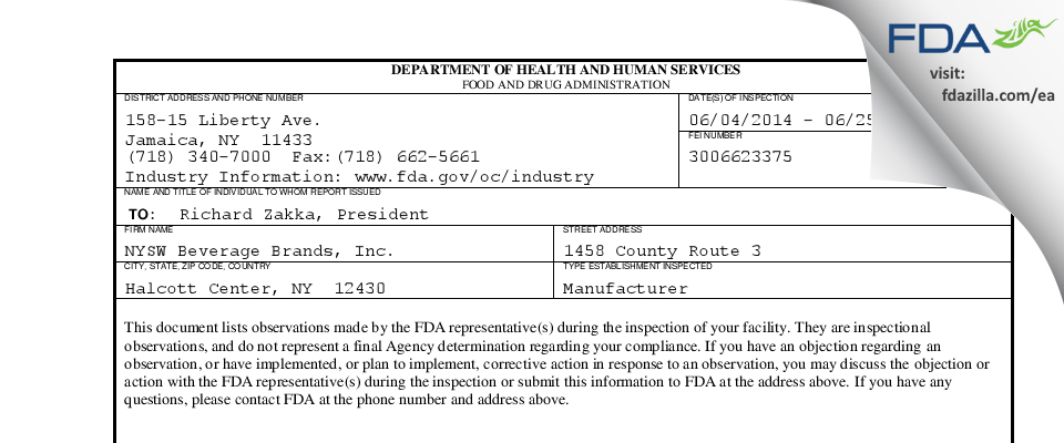 NYSW Beverage Brands FDA inspection 483 Jun 2014