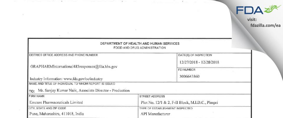 Emcure Pharmaceuticals FDA inspection 483 Dec 2018
