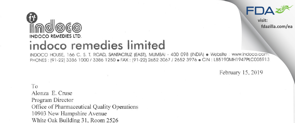 Indoco Remedies Limited (Plant I) FDA inspection 483 Jan 2019