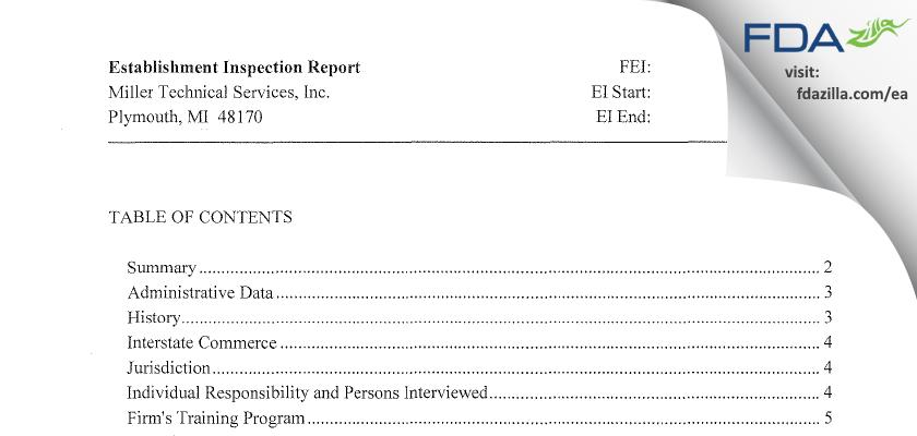 Miller Technical Services FDA inspection 483 Jun 2015