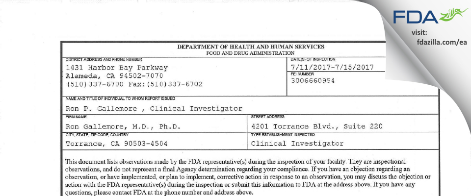 Ron Gallemore, M.D., Ph.D. FDA inspection 483 Jul 2017