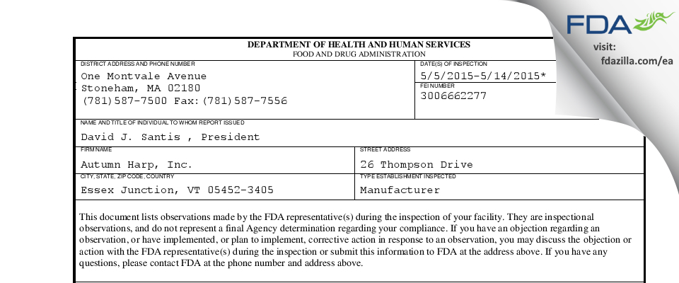 Autumn Harp FDA inspection 483 May 2015