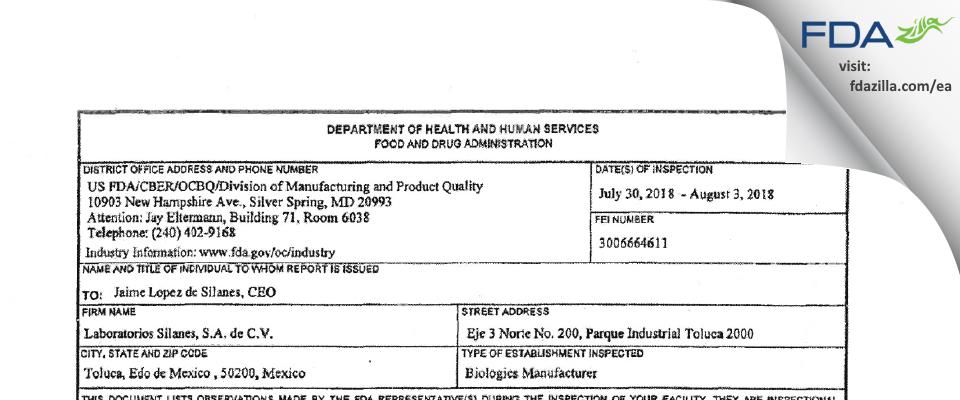 Laboratorios Silanes SA de CV FDA inspection 483 Aug 2018