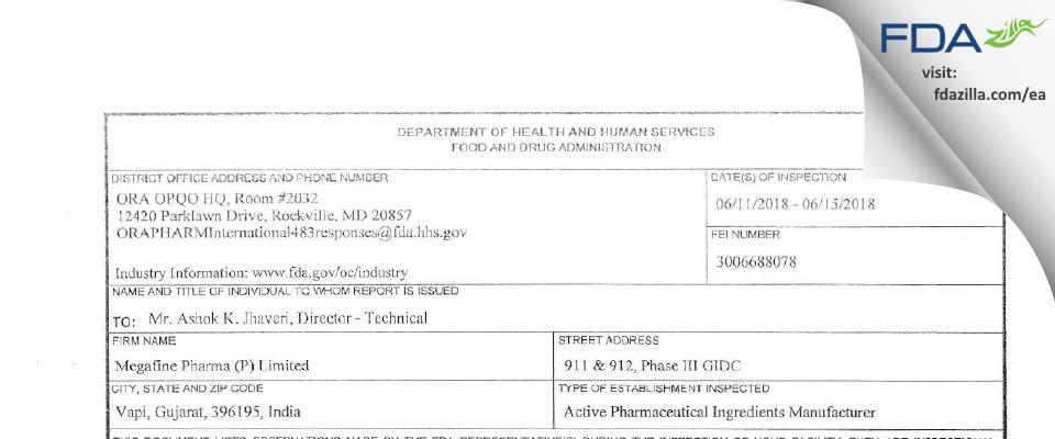 Megafine Pharma (P) FDA inspection 483 Jun 2018
