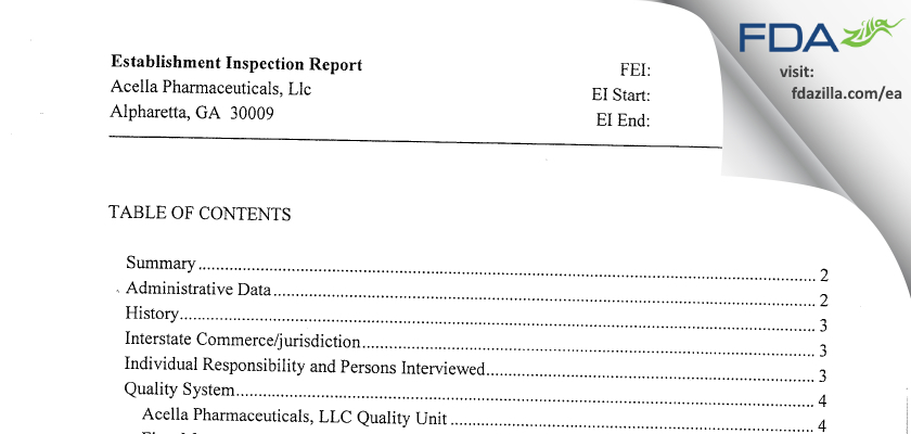 Acella Pharmaceuticals FDA inspection 483 Apr 2010