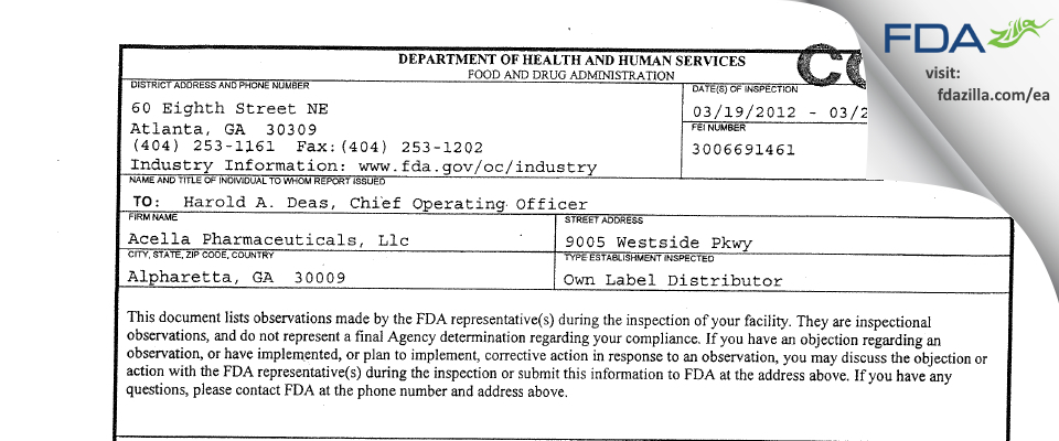 Acella Pharmaceuticals FDA inspection 483 Mar 2012
