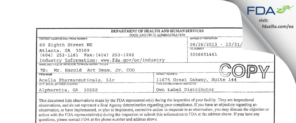 Acella Pharmaceuticals FDA inspection 483 Oct 2013