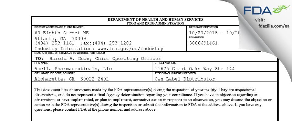 Acella Pharmaceuticals FDA inspection 483 Oct 2015