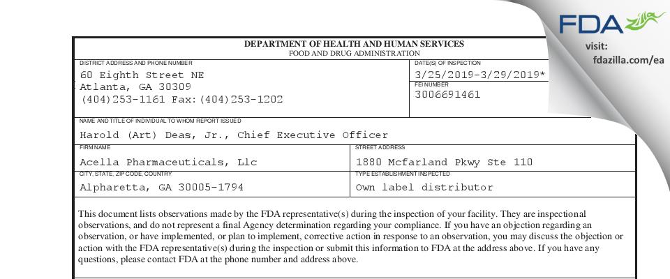 Acella Pharmaceuticals FDA inspection 483 Mar 2019