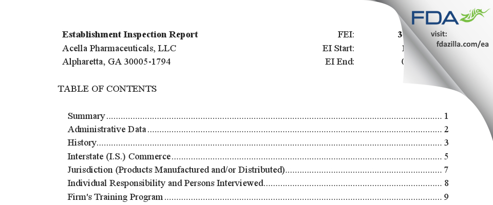 Acella Pharmaceuticals FDA inspection 483 Jan 2020