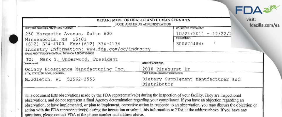 Quincy Bioscience Holding Company FDA inspection 483 Dec 2011