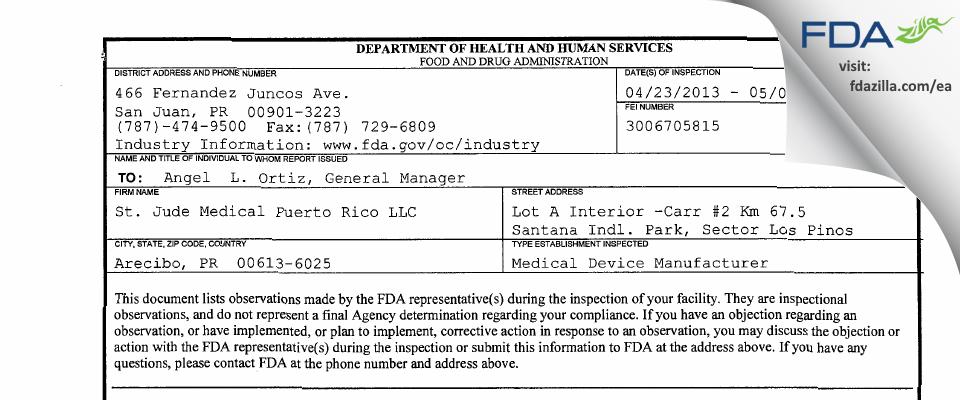 St. Jude Medical Puerto Rico FDA inspection 483 May 2013