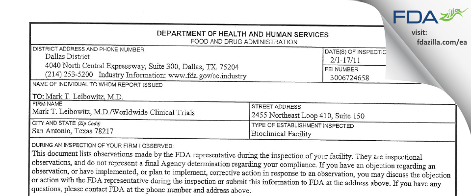 Worldwide Clinical Trials Early Phase Services FDA inspection 483 Feb 2011