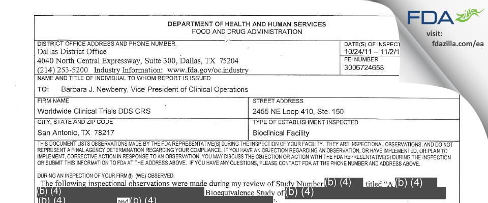 Worldwide Clinical Trials Early Phase Services FDA inspection 483 Nov 2011