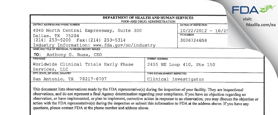 Worldwide Clinical Trials Early Phase Services FDA inspection 483 Oct 2012