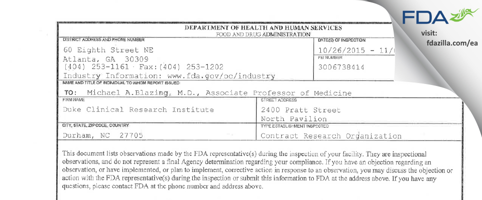 Duke Clinical Research Institute FDA inspection 483 Nov 2015
