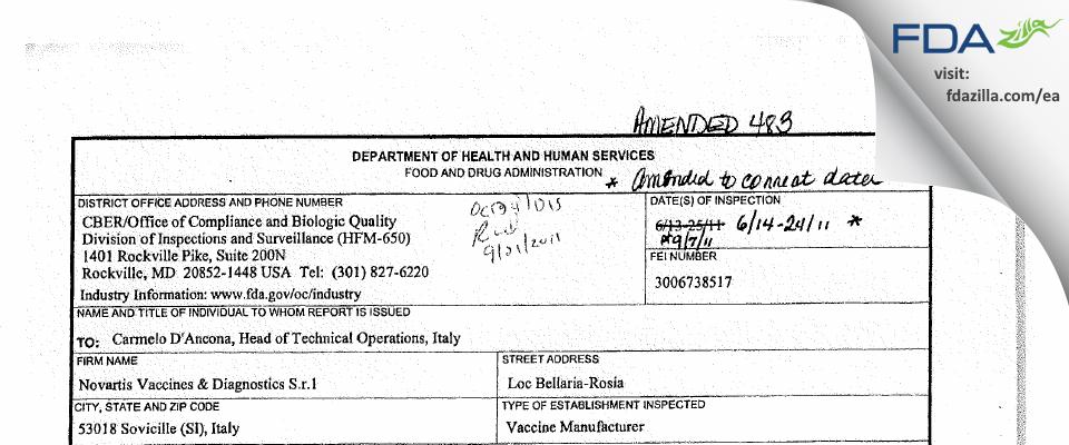 GSK Vaccines S.r.l FDA inspection 483 Jun 2011