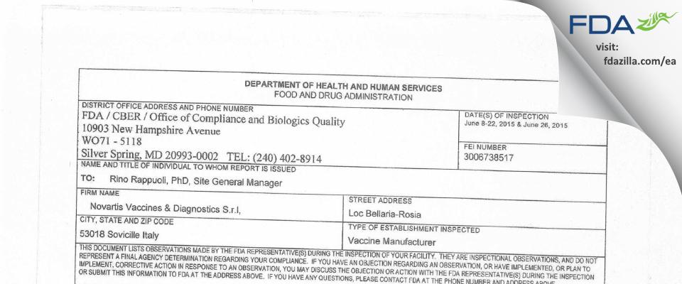 GSK Vaccines S.r.l FDA inspection 483 Jun 2015