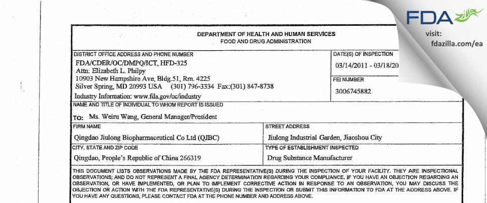 Qingdao Jiulong Biopharmaceutical FDA inspection 483 Mar 2011