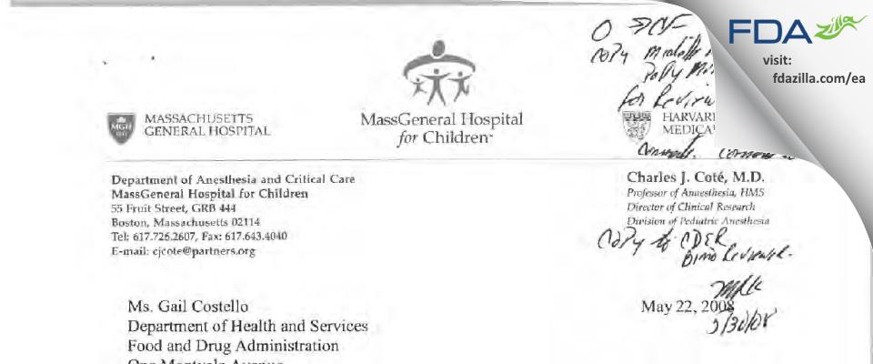 Charles J. Cote, MD FDA inspection 483 Apr 2008