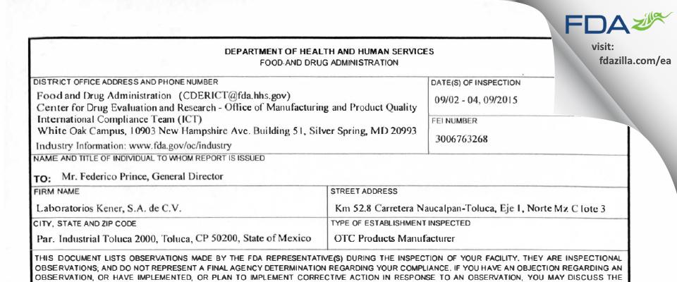 Laboratorios Kener, SA de CV FDA inspection 483 Sep 2015