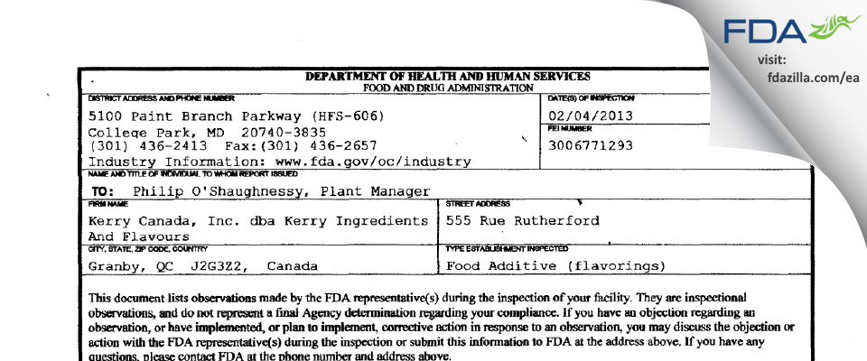 Kerry Canada dba Kerry Ingredients And Flavours FDA inspection 483 Feb 2013