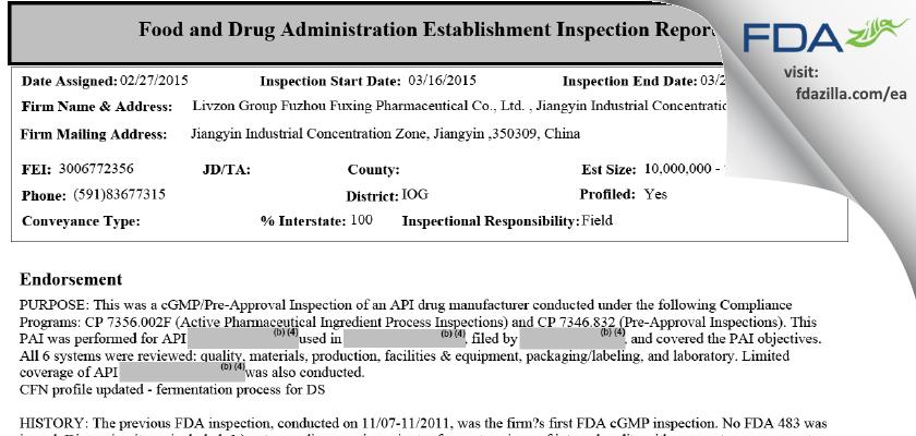 Livzon Group Fuzhou Fuxing Pharmaceutical FDA inspection 483 Mar 2015