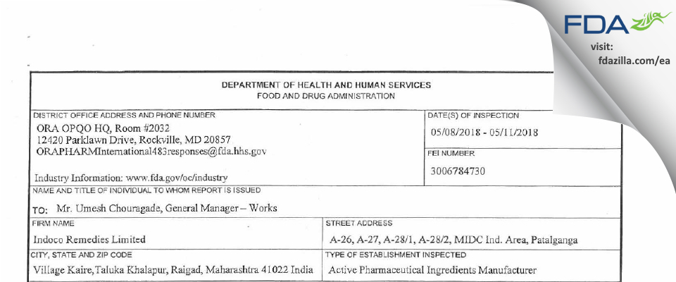 Indoco Remedies FDA inspection 483 May 2018