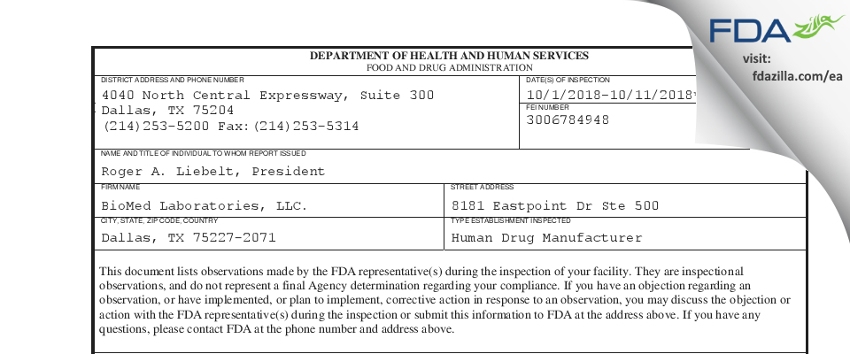 BioMed Labs. FDA inspection 483 Oct 2018