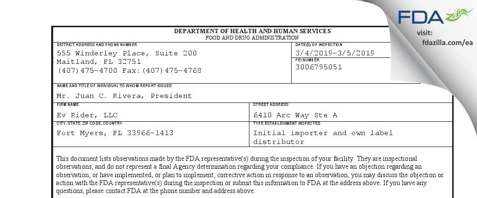 Ev Rider FDA inspection 483 Mar 2019