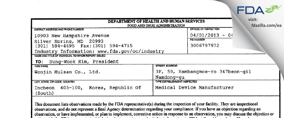 Wonjin Mulsan FDA inspection 483 Apr 2013