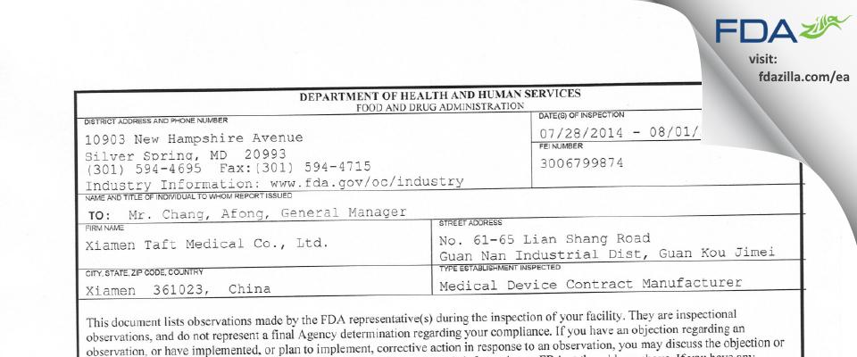 Xiamen Taft Medical FDA inspection 483 Aug 2014