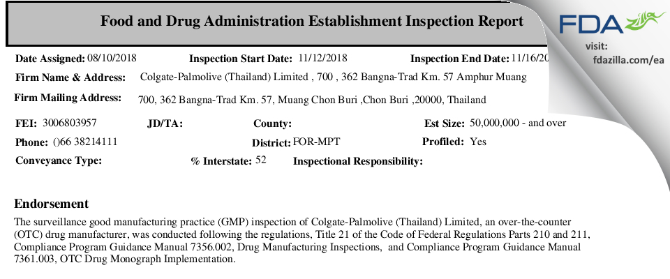 Colgate-Palmolive (Thailand) FDA inspection 483 Nov 2018