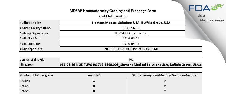 Siemens Medical Solutions USA FDA inspection 483 May 2016