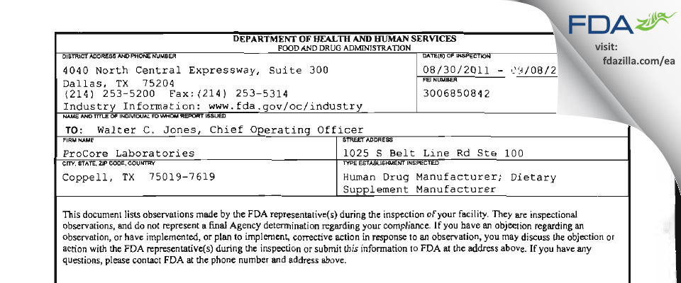 ProCore Pharma FDA inspection 483 Sep 2011