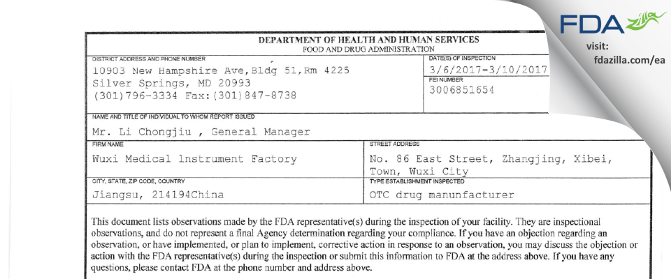 Wuxi Medical lnstrument Factory FDA inspection 483 Mar 2017
