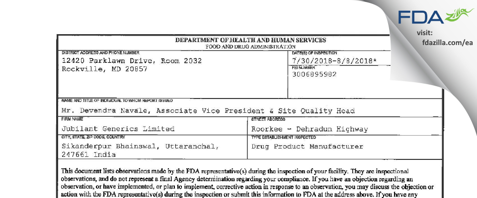 Jubilant Generics FDA inspection 483 Aug 2018